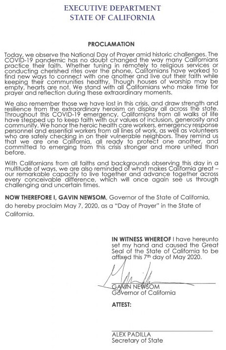 Governor Newsom Issues Proclamation Declaring Day of Prayer 5.7.20