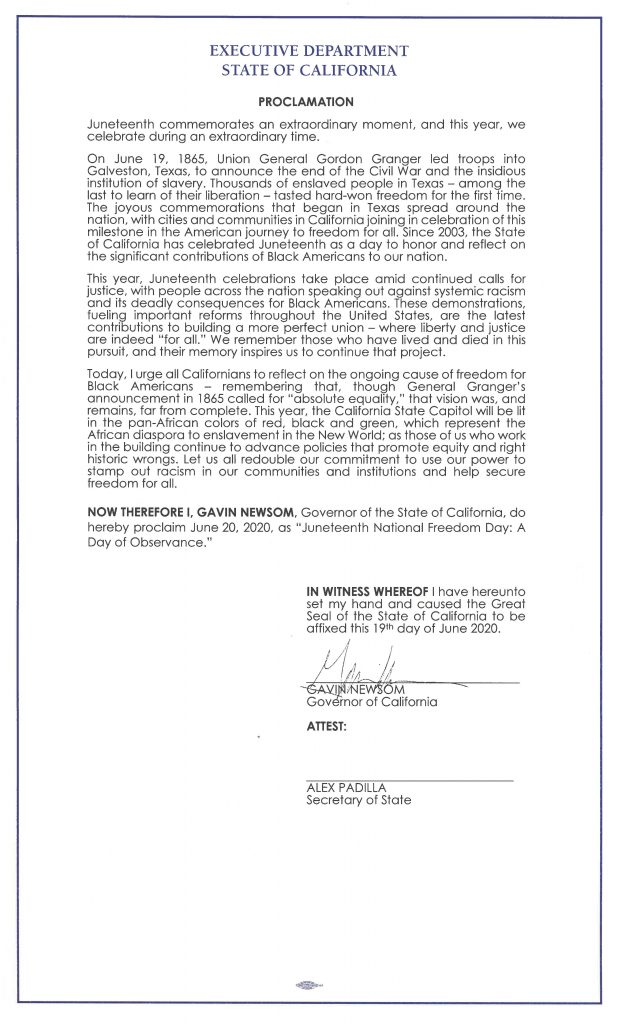 Governor Newsom Issues Proclamation Declaring Juneteenth Day of Observance